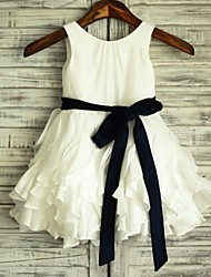 A-Line Knee Length Flower Girl Dress - Satin Taffeta Sleeveless Scoop Neck with Ribbon by thstylee