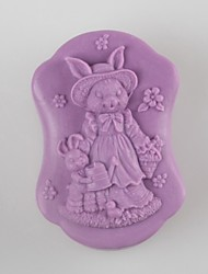 cheap -Rabbit Mother and Son Shaped Soap Molds Wedding Mould Fondant Cake Chocolate Silicone Mold, Decoration Tools Bakeware