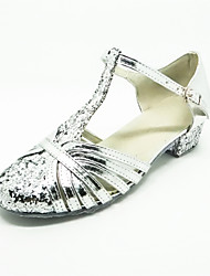 cheap -Modern Shoes Satin High Heel Buckle Low Heel Non Customizable Dance Shoes Silver