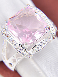 Band Rings Silver Plated Topaz Fashion Red Green Pink Jewelry Party 1pc