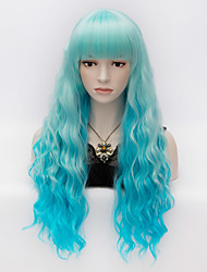 cheap -Ladies Fashion Curly Hair  Long Blue Gradient  Full Bang Women's Wig
