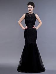 economico -in forma& Vestito da sera del merletto del merletto di lunghezza del pavimento del collo del gioiello del chiarore