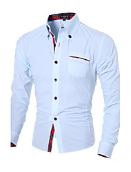 Brand Fashion Men's casual long-sleeved shirt Slim spell color shirt Cotton / Polyester Casual / Work Pure