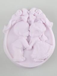 economico -sposa e lo sposo a forma di muffe del sapone della muffa wedding cake fondente stampo in silicone del cioccolato, attrezzi della