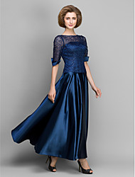 A-Line Bateau Neck Ankle Length Satin Mother of the Bride Dress with Lace Pleats by LAN TING BRIDE®