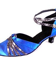 baratos -Mulheres Sapatos Padrão Glitter / Cetim Sandália Salto Personalizado Personalizável Sapatos de Dança Azul Real / Interior / Profissional