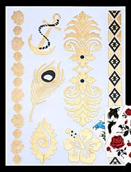 Tatuajes Adhesivos - Non Toxic/Hawaiian/Parte Lumbar/Waterproof - Series de Joya - Mujer/Hombre/Adulto/Juventud - Dorado/Multicolor/Plata