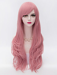 cheap -70cm Long Layered Curly Hair With Side Bang Pink Heat-resistant Synthetic Harajuku Lolita  Wig