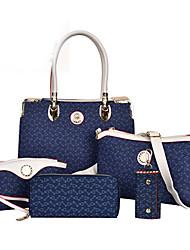 baratos -Mulheres Bolsas PU Tote / Conjuntos de saco / Bolsa de Ombro 5 Pcs Purse Set para Compras / Formal / Escritório e Carreira Marron / Azul