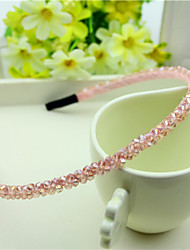 cheap -South Korea Imported Hairpin Rhinestone Beaded Head Hoop Decorations Double Row Crystal Pink Hair Straps