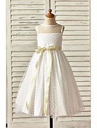 cheap -A-Line Ankle Length Flower Girl Dress - Tulle Sleeveless Jewel Neck with Bow(s) Sash / Ribbon by LAN TING BRIDE®