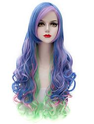 Eye Catching Colorful Blue/Purple/Green Long Curl Wavy U Partv Harajuku Purecas Vogue Cosplay  Women Synthetic Wigs