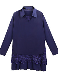 cheap -Women's Cotton Blouse - Solid Colored, Lace Shirt Collar