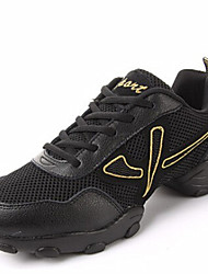 "cheap -Men's Dance Sneakers Leather Sneaker Split Sole Outdoor Lace-up Low Heel Black Gold 1"" - 1 3/4"" Non Customizable"