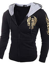 cheap -Men's Daily Casual Sports Hoodie Printing Hooded strenchy Cotton Long Sleeve Winter Spring Fall