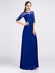 cheap -Sheath / Column Illusion Neckline Floor Length Chiffon Formal Evening Dress with Beading Appliques by A-Fu