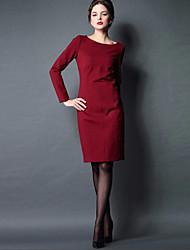 billige -Dame Vintage Kjole - Ensfarvet, Krøllede Folder Knælang