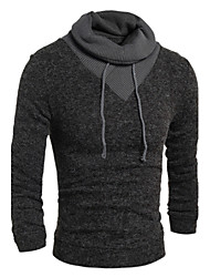 cheap -Men's Business Casual Casual Active Regular Pullover,Solid High Neck Long Sleeves Cotton Elastic Winter Fall Thin Stretchy