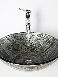 Недорогие -Античный 1.2*42*14.5 Круглый Раковина Материал является Закаленное стеклоумывальник для ванной смеситель для ванной монтажное кольцо для