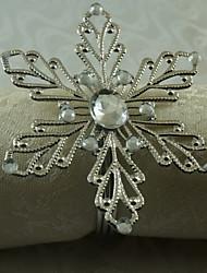 12 pcs / ensemble 1,77 pouces métal flocon de neige serviette anneau vaisselle stockage de table