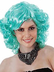 billige -Syntetiske parykker Krøllet Assymetrisk frisure Syntetisk hår Natural Hairline Grøn Paryk Dame Kort Lågløs