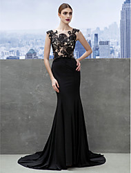 Mermaid / Trumpet Scoop Neck Court Train Jersey Formal Evening Dress with Appliques by TS Couture®