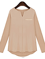 cheap -Women's Daily Plus Size Casual Fall Blouse,Solid V Neck Long Sleeves Cotton Medium