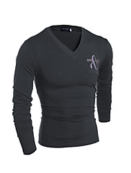 Informell / Business V-Ausschnitt - Langarm - MEN - T-Shirts ( Baumwolle )