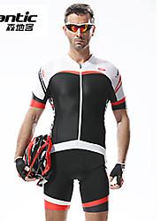 billige -SANTIC Cykeltrøje og shorts med seler Herre Kort Ærme Cykel Tights Med Seler Shorts Trøje TøjsætHurtigtørrende Anatomisk design