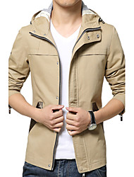 cheap -Men's Chic & Modern Trench Coat-Solid Colored