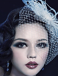 cheap -Chiffon / Lace / Feather Fascinators / Flowers / Birdcage Veils with 1 Wedding / Special Occasion / Outdoor Headpiece