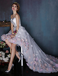 Ball Gown Strapless Asymmetrical Tulle Charmeuse Formal Evening Dress with Flower(s) Sash / Ribbon by Huaxirenjiao