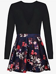 cheap -Going out Cotton A Line Dress - Floral Mini Deep V