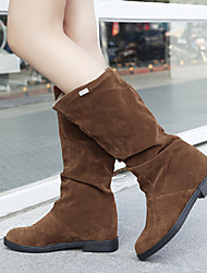 Women's Shoes Suede Wedge Heel Fashion Boots / Round Toe Boots Casual Black / Brown / Red