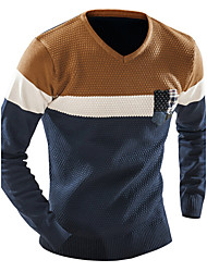 cheap -Men's Weekend Long Sleeve Pullover - Color Block V Neck