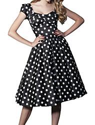 Robe Aux femmes Vintage , Points Polka U Profond Mi-long Coton / Polyester