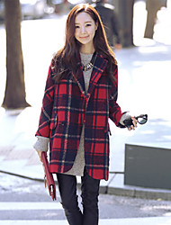 cheap -Women's Chic & Modern Coat-Plaid/Check,Classic Style