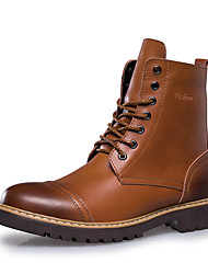 baratos -Homens sapatos Pele Inverno Outono Coturnos Botas Botas Cano Médio para Casual Escritório e Carreira Preto Castanho Claro Castanho Escuro