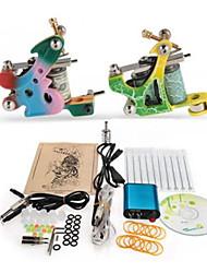 Kit completo per tatuaggi 2 x macchina in ghisa per linee e ombre 2 Macchinette per Tatuaggio  Mini-alimentatoreInchiostri spediti