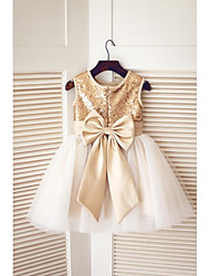 cheap -A-Line Knee Length Flower Girl Dress - Tulle Sequined Sleeveless Jewel Neck with Bow(s) Sequins by LAN TING BRIDE®