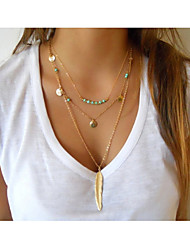 cheap -Women's Cross Feather Shape Tassel Vintage Cute Party Work Casual Multi Layer Fashion Layered Necklace Turquoise Alloy Layered Necklace