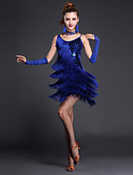 cheap -Shall We Latin Dance Dresses Women Performance Polyester / Lycra Sequins / Tassel(s) 4 Pieces