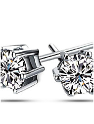 cheap -Cubic Zirconia - Sterling Silver Classic Silver For Party