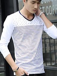 Camiseta De los hombres Estampado / A Rayas-Casual-Mezcla de Algodón-Manga Larga-Negro / Azul / Gris