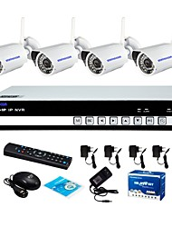 economico -szsinocam® 4ch wifi h.264 nvr kit (4pcs wireless 1.0mp 3.6mm day night vision weatherproof ip camera), p2p