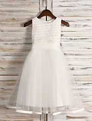 A-Line Tea Length Flower Girl Dress - Tulle Sequined Sleeveless Jewel Neck with Ribbon by thstylee