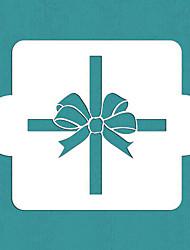 Недорогие -подарок, завернутый Святого Валентина с луком трафарета, торт пластиковые трафареты искусства, Санкт-163