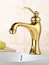 billige -Traditionel Centersat Vandfald Keramik Ventil Et Hul Enkelt håndtag Et Hul Ti-PVD, Håndvasken vandhane