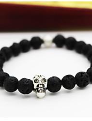 cheap -Men Fashion Bracelet Pulseras Mujer Black Lava Stone Skull Beads Bracelet