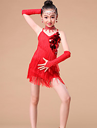 cheap -Kids' Dancewear Outfits Performance Milk Fiber Sequin Crystals / Rhinestones Tassel Dress Sleeves Neckwear